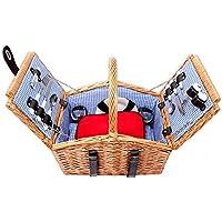 Schramm cestino da picnic in vimini con manico in legno per 2persone picnic set cestino da picnic picnic valigia interno blu a quadretti