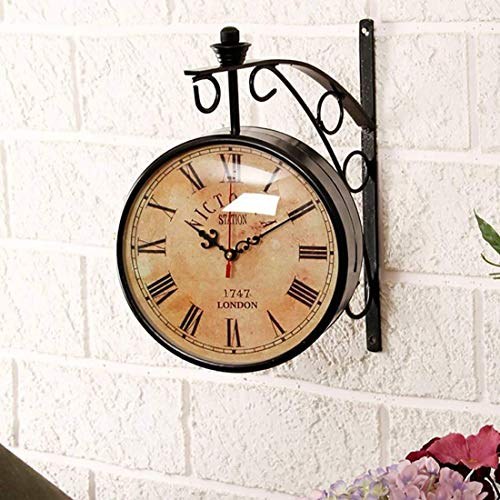 ACCENTS & DECOR Black Iron 10 Inch Victoria Station Clock London Vintage Wall Clock Retro Wall Clock Double Sided Wall Clock Antique Clock (10 inch, 3)