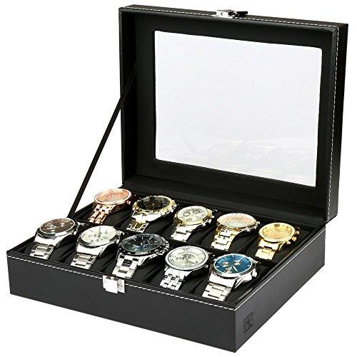 H & S® Glas Deckel 10Armbanduhr Schmuck Display Aufbewahrungsbox Fall Armband Kunstleder Tablett schwarz -