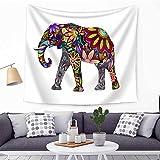 HANSHI Elefant Wandteppich mit Böhmischem Stil Indisch Hippie Wanddeko Wandbenhang Wandtuch Tischdecke Dekoration für Schlafzimmer Wohnzimmer HYC21(6#)