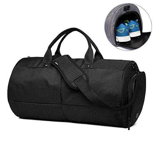 Valleycomfy Sac de sport Gym Sacs Chaussures de grande capacité avec poche à la main/épaule/sac en bandoulière Fitness bagages Sacs de, Noir