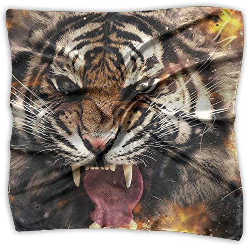 Bikofhd Fierce Tiger Women's Large Square Satin Head Bandanas Silk Like Neckerchief