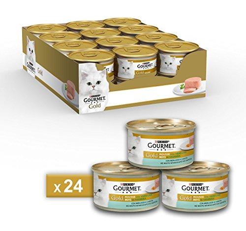 Purina Gourmet Gold Umido Gatto Mousse con Merluzzo e Delicate Carote, 24 Lattine da 85 g Ciascuna, Confezione da 24 x 85 g