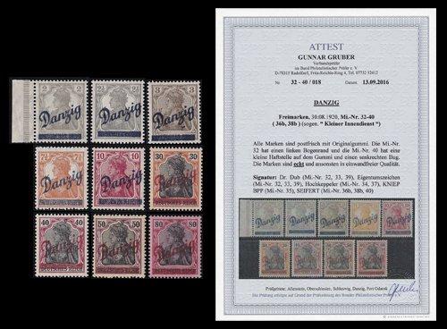 """Preisvergleich Produktbild Goldhahn Danzig Nr. 32-40 postfrisch ** mit Fotoattest Gruber """"echt und einwandfrei"""" Briefmarken für Sammler"""