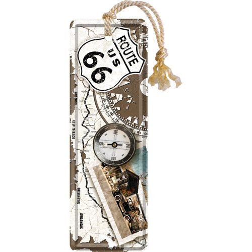 Nostalgic-Art 45001 US Highways - Route 66 Compass, Lesezeichen 5x15 cm
