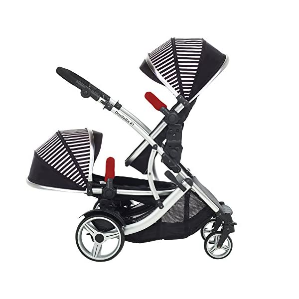 Kids Kargo Duellette Combi Tandem Double Twin pushchair (Oxford Stripe) for Newborn Twins Kids Kargo Fully safety tested Compatible with car seats; Kids Kargo, Britax Baby safe or Maxi Cosi adaptors. Versatile. Suitable for Newborn Twins:  carrycots have mattress and soft lining, which zip off. Remove lining and lid. 7