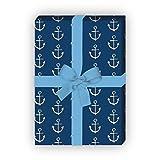 Nautisches Geschenkpapier Set (4 Bogen)/Dekorpapier mit Ankern, blau, für schöne Geschenk Verpackung und Überraschungen basteln 32 x 48cm