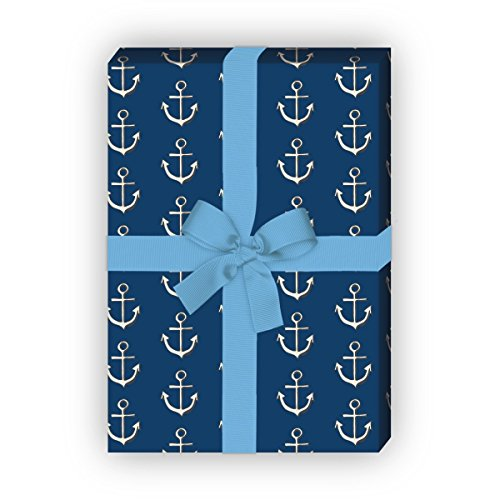 apier Set (4 Bogen) / Dekorpapier mit Ankern, blau, für schöne Geschenk Verpackung und Überraschungen basteln 32 x 48cm (Nautische Einladungen)