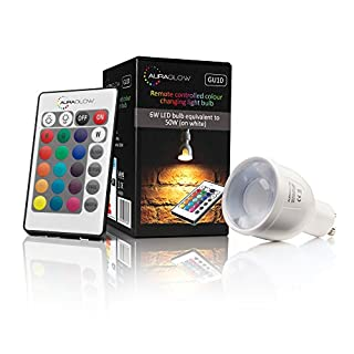 Auraglow Leuchtmittel, 6 W, Fernbedienung, Farbwechsel, LED-Glühlampe, GU10, 50 W, warmes Weiß, dimmbar, dritte Generation