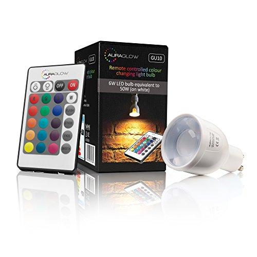 Auraglow Leuchtmittel, 6 W, Fernbedienung, Farbwechsel, LED-Glühlampe, GU10, 50 W, warmes Weiß, dimmbar, dritte Generation - Glühlampen-dimmer Umschalten