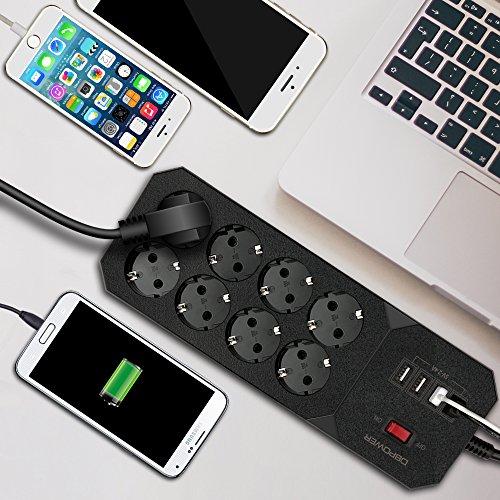 DBPOWER Multipresa Ciabatta Elettrica Torre con 8 Porte Schuko (a 2 spine) e 4 Porte USB e Interruttore Adattatore con Protezione di Sovraccarico Le Porte USB per la Ricarica Supportano PC iPhone iPad Nero