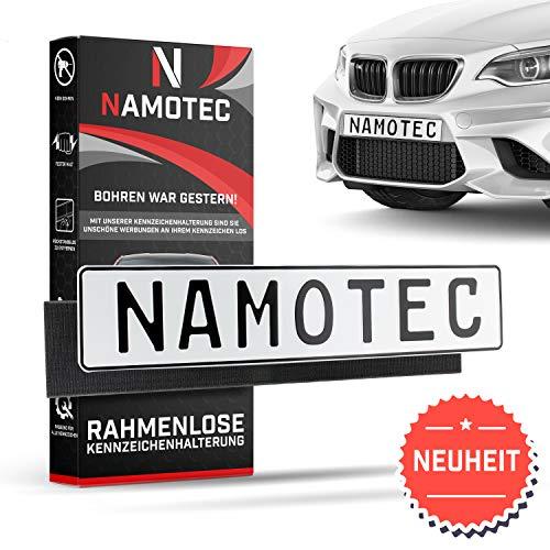 2x Namotec® Kennzeichenhalter Auto Rahmenlos ohne Schrauben - Klett Nummernschildhalterung Auto Set - Autokennzeichen Halterung fürs Kfz Kennzeichen - Nummernschildhalter - Kennzeichenhalterung (2 Klett-rollen)