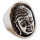 Fly Style - Grosser Buddha Ring Siegelring breit 316L Edelstahl Herren Damen Statement, Ring Grösse:18.1 mm