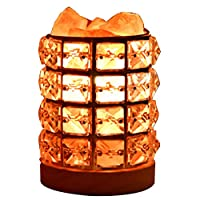 Authda Salt Lamp Himalayan Natural Salt Crystal Chunks in Iron Art Diamond Cylinder Rotary Switch Adjusts Brightness UK Standard Plug Home Decoration and Creative Household Light