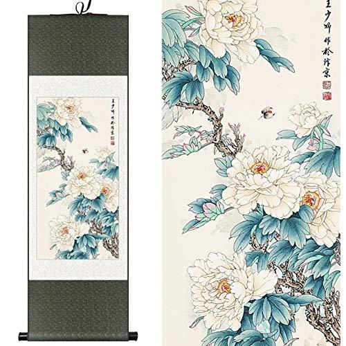 Seide Aquarell Blume und Vogel Rich White Pfingstrose Biene Tinte Kunstdruck Leinwand Wand Bild Damast gerahmt Scroll Painting140Cm X 45Cm
