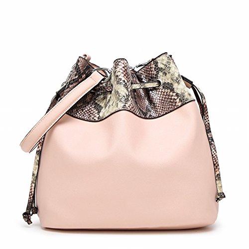 Weibliche art und Weise schlange Muster Große tasche Schulter Schräge Kreuz handtasche Eimer tasche Rosa
