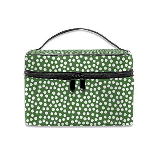 Portable Travel Toiletry Bag Organizer,4 White Polka Dots - Apple Green Cosmetic Bags for Women Girl,Makeup Bag, Storage Bag (Polka Dots Green)