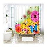 AieniD Badezimmer Deko Winter Chrysantheme Schmetterling Mehrfarbig Bad Vorhang Size:200X180CM
