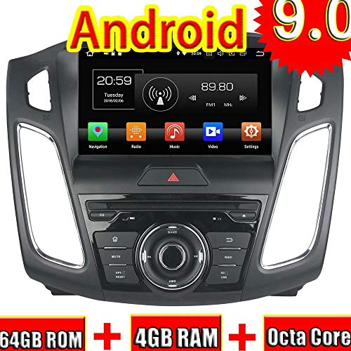 Indash 9Zoll 2Din Auto Video Player für Ford Focus 2012 2013 2014 2015 2016 Android 9.0 Autoradio Stereo Mit GPS Navigation 3G WiFi Spiegel Link RDS FM AM (Oem-factory-ford)