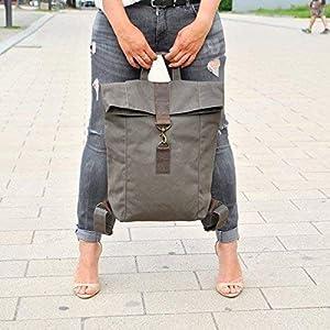 Khaki Canvas Leder Rucksack, wasserabweisend, groß, Damen Tasche, Herren Tasche, Laptop Tasche, Leder, Segeltuch, Uni Tasche, Alletagstasche