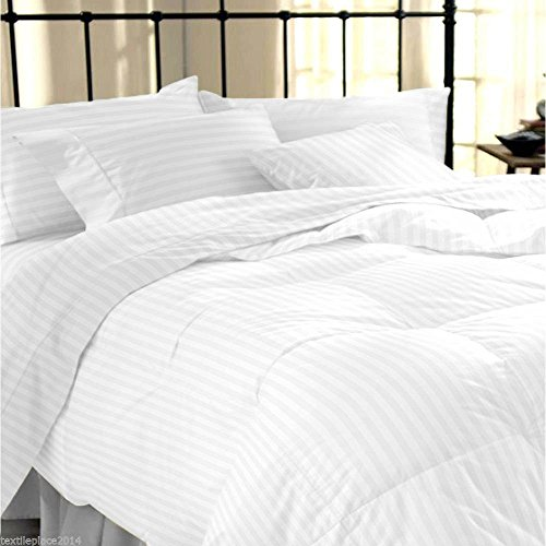 "Linenwalas Classic All Season Duvet with Cotton Stripes Cover - 90""x100"", White"