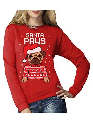 Green Turtle T-Shirts Santa Paws Pfoten - Mops Süßer Damen Weihnachtspullover Frauen Sweatshirt XX-Large Rot