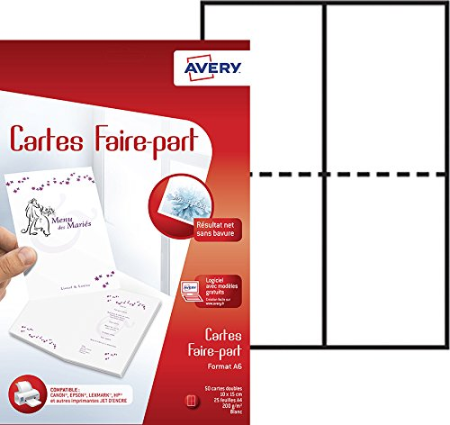 Avery 50 Cartes Faire-Part - A6 ...