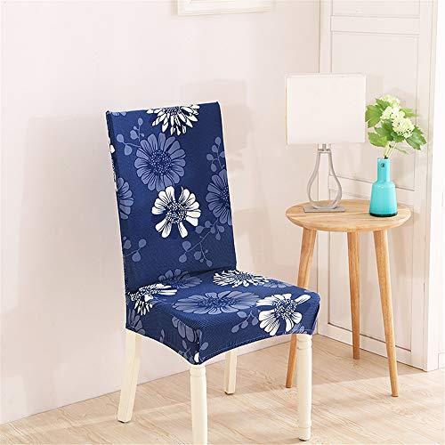 Coprisedie con schienale elasticzzato, morbuy fiore stampa coprisedile sala da pranzo hotel cerimonia banchetto lavabile estraibile party decor (4 pezzi,margherita blu)