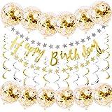 TOPWINRR Decorazioni Buon Compleanno Oro Confetti Palloncini Forniture Carta Glitter Bandiera Happy Birthday Stella