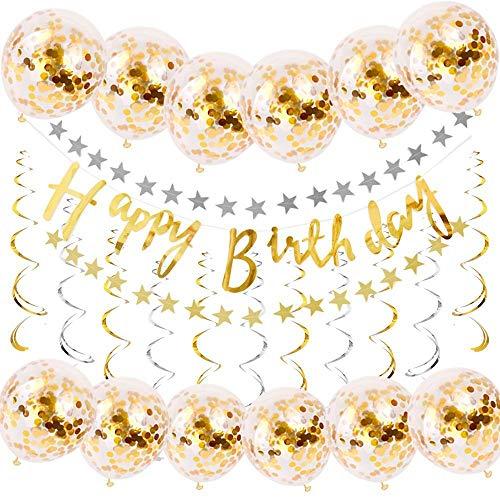 TOPWINRR Luftballons Geburtstag Dekorationen Zubehör Flackernd Papier Banner Konfetti Spiralfolie wirbelt Girlanden Stern Flag Gold