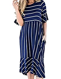Brezeh Summer Dresses, Womens Ladies Fashion Striped Short Sleeve Dress Fashion Round Neck Petal Skirt