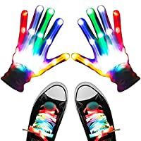 LED Gloves Lights Flashing Finger Lights Colorful Flashing Shoelace for Christmas Costume Birthday Party