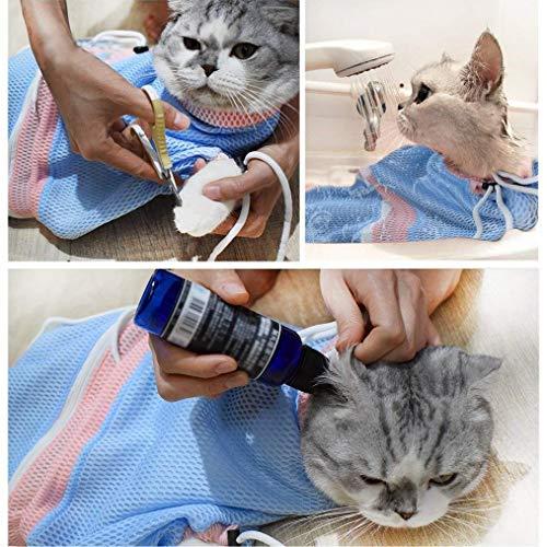 MMKSTO Fellpflegebeutel für Katzen, verstellbar, Weiches Waschen, Duschnetz, Beißen, Kratzfest, Baden und Untersuchen von Nägeln -