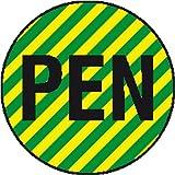 2353. Leiterkennzeichnung auf Bogen PEN (Neutralleiter mit Schutzfunktion) Folienetiketten, selbstklebend,auf Bogen angestanzt Größe 2,00 cm