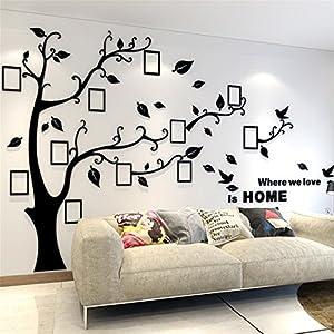 Guangmu Wandaufkleber mit Bilderrahmen 3D Wandtattoos Wandsticker Speicher Foto Acryl Baum Sticker für Hause Dekorationen Kunst (Schwarz Rechts, XL(200 * 276CM))