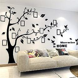 Sticker Muraux Acrylique 3D Arbre Autocollants, Amovibles DIY Cadre de Photo Stickers Mural Arts Décorations pour Garderie, Chambre, Salon, Chambre Enfants (L: 175 * 230CM, Noir Droite)
