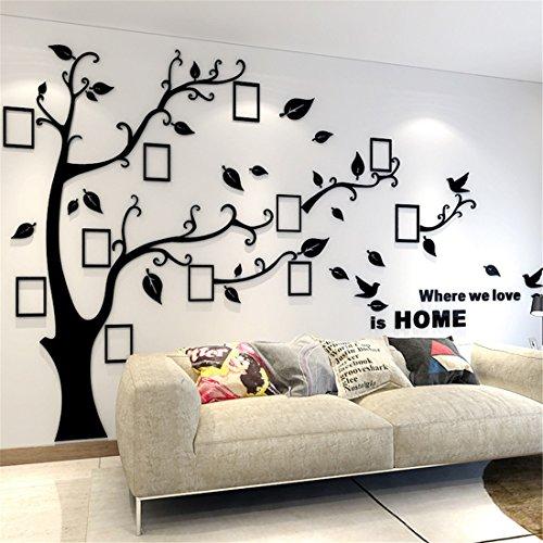 Murali 3d adesivo da parete, rimovibile albero adesivi murali e cornici per foto sticker decorazioni per interni, sale, asili nido, stanze per bambini, aule (l: 175 * 230cm, nero destra)