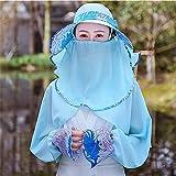 RangYR Cappello Estivo Donna Autunno Cool Cappello Da Sole In Sella A Una Moto Elettrica Cappello Parasole Crema Solare Maschera Per Il Viso Blu