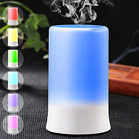 DLAND 7 Colors Electric Aromatherapy Essential oil Diffuser Cool Mist Humidifier with Colorful LED light and Auto off, Whisper-Quiet Cool Mist Humidifier, Enjoy Aromatherapy Experience with Your Favorite Scented,Diffuser Ultrasonic Humidifier Air Purifier Essential Oils (USB Port)