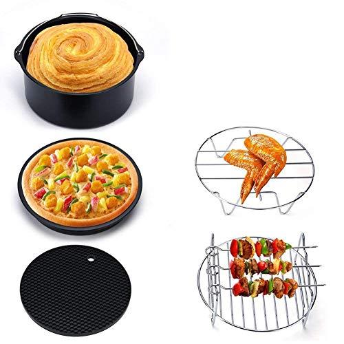 SODIAL Aire Freidora Eléctrica Horno Cocina con Receta, 1300 W, Exhibición De Hora Y Temperatura, Control De Pantalla Táctil, Desmontable Lavavajillas Cesta Lavable (Freidora Accesorios)
