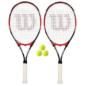 2 x Wilson Tour Tennis Rackets + 3 Tennis Balls RRP £110 Review 2018