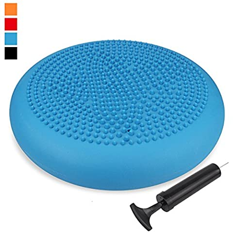 Extra Thick 34 / 35cm Matte Surface Balance Cushion, Air Stability Wobble Board, Wobble Cushion, Posture Trainer, Balance Board, TRIDEER Anti-Burst Fitness Stability Pad in Anti-Slip Surface, with Free Pump - for Improving Posture, Supports Muscle, Physical Therapy, Rehabilitation, Core Stability Training, Suitable for Men and Women - Available in multicolor (35cm,Blue Matte)