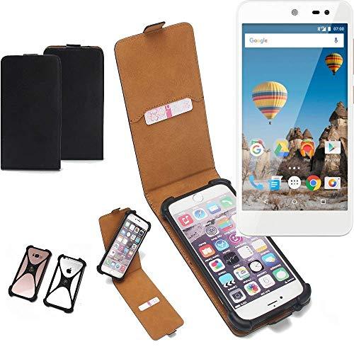 K-S-Trade Flipstyle Hülle für General Mobile GM 5 Handyhülle Schutzhülle Tasche Handytasche Case Schutz Hülle + integrierter Bumper Kameraschutz, schwarz (1x)
