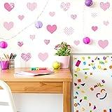 GET STICKING DÉCOR® CUTE HEART WALL STICKERS COLLECTION, MultiPinkHearts Hart.4, Matt/ Satin Vinyl, Pink Color. (Medium)