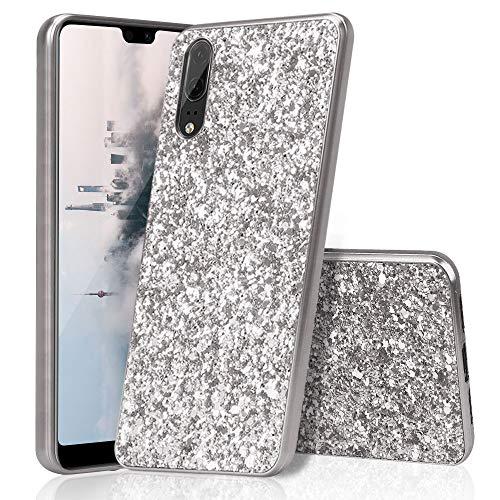 Huawei P20 Hülle Silikon Glitzer, Huphant PC+TPU Huawei P20 Hülle Luxus Sparkle Bling Glitter Phone Case Stoßfest Ultra Slim Anti-Scratch Hard PC Case Stoßfänger Rückseitige Abdeckung -Silber