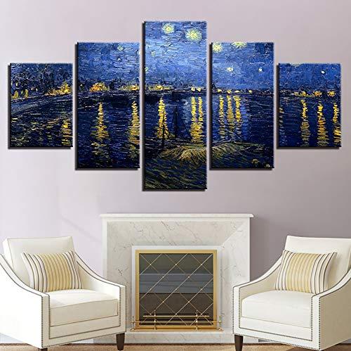 SDZSH Zuhause Dekoration Malerei, 5stk Van Gogh See Beleuchtung HD Drucken Landschaft Kunst Modern Dekorativ Gemälde,A,20×35×2+20×45×2+20×55×1 - Moderne Landschaft Beleuchtung
