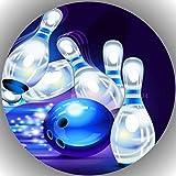 Fondant Tortenaufleger Tortenbild Geburtstag Bowling T14