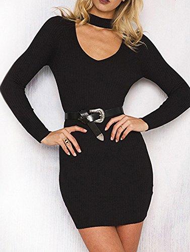 Donna Elegante Mini Vestito in Maglieria Cocktail Vacanza Sera Partito Festa Banchetto Abiti di Colore Solido Manica Lunga V Collo Vestiti Corto Abito a Tubino da Cerimonia Nero