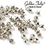 [Golden Tulip®] 100x 8mm Nieten Ziernieten Gotik Metall DIY Pyramiden Silber 216002