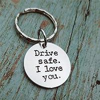 Yesiidor Drive Safe I Love You Tag Keychain Titanium Steel Keyring Simple Stylish Keychain Men Gift Trucker Husband Gift
